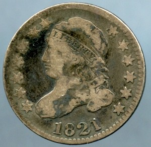1821 Bust Dime Very Good