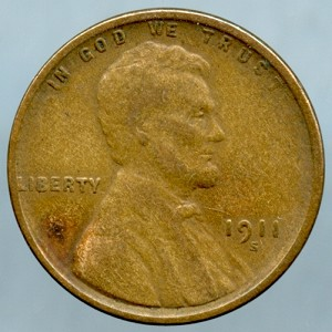1911 S Lincoln Cent Fine- Small spot on obverse
