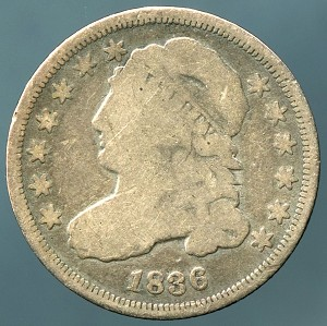 1836 Bust Dime Very Good