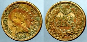1863 Copper Nickel Indian Cent XF