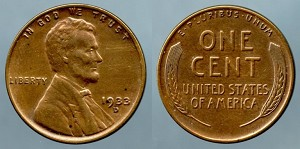1933-D Lincoln Cent XF+