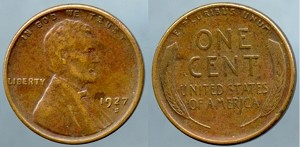 1927 S Lincoln Cent XF/AU