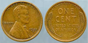1921 S Lincoln Cent XF