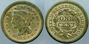 1848 Large Cent XF
