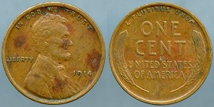 1914 Lincoln Cent XF+