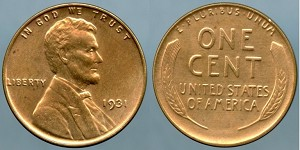1931 Lincoln Cent MS-63