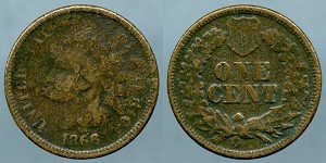 1866 Indian cent Cull