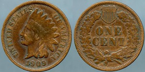 1909 Indian cent  VF