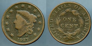 1827 Large Cent VG