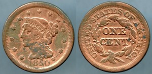 1850 Large Cent VG