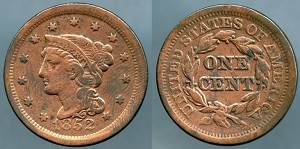 1852 Large Cent VF