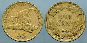 1858 SL Flying Eagle Cent AU