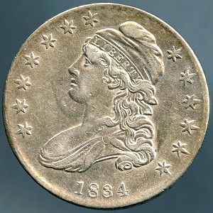 1834 Bust Half Dollar AU-50 lightly cleaned