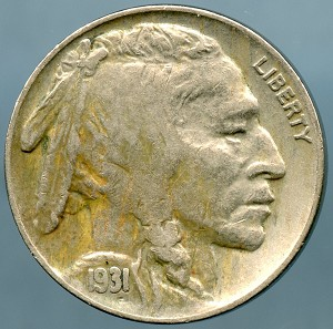 1931 S Buffalo Nickel Choice VF-35 discolored obv.
