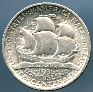 1936 Long Island Commemorative Half Dollar AU-50