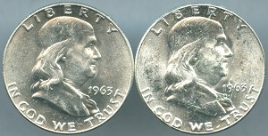 1963 P&D Franklin Half Dollar 2-Coin Lot MS-60