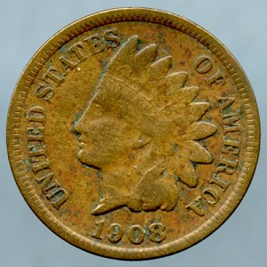1908 S  Indian Cent VF-20+