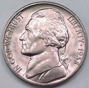 1938 D Jefferson Nickel Choice B.U. MS-65