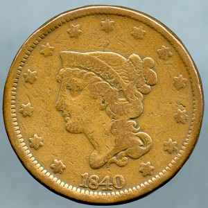 1840 Large Cent Fine - Cleaned
