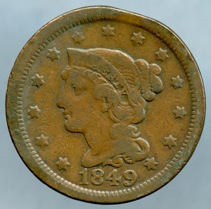 1849 Large Cent Very Good with small rim bruise