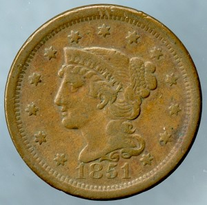1851 Large Cent VF-20