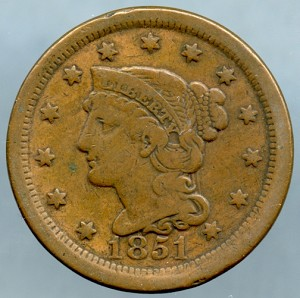 1851 Large Cent Fine plus