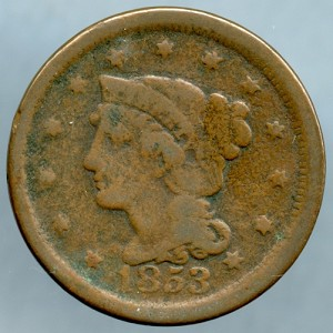 1853 Large Cent Very Good