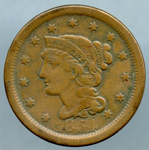 1854 Large Cent VF-20 light cuts on obverse