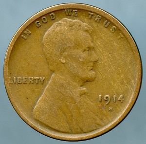 1914 S Lincoln Cent VF-20