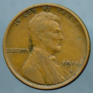 1914 S Lincoln Cent Choice VF-35- Small spot obverse