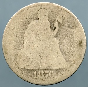 1876 Seated Dime About Good