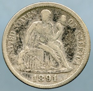1891  Seated Dime VF-20