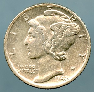 1942/1 Mercury Dime XF-45 Cleaned