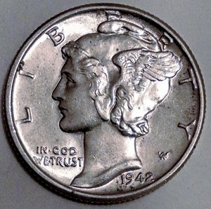 1942 Mercury Dime MS-63