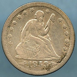 1853 A & R Seated Quarter Very Fine 20