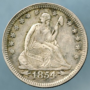 1854 Seated Quarter XF-40+