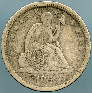 1857 Seated Quarter About Fine