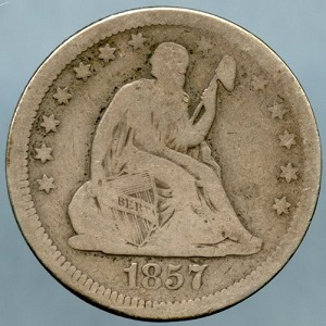 1857 Seated Quarter Very Good