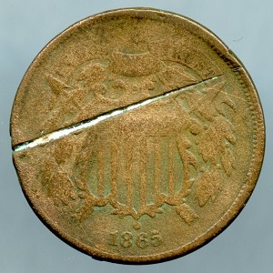 1865 Two Cent Piece Cull