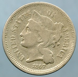 1867 Three Cent Nickel Fine