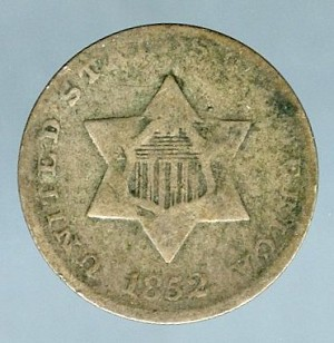 1852 Three Cent Silver  Good / VG