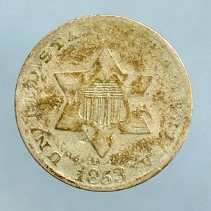 1853 Three Cent Silver Good /  Very Good