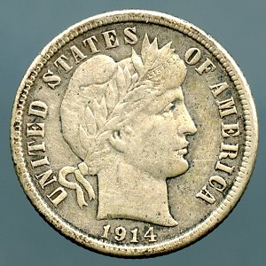 1914 Barber Dime Choice VF-35