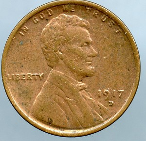 1917 D Lincoln Cent AU details cleaned obverse