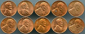 1960 Lincoln Cents Small Date lot of 10 pieces spotty