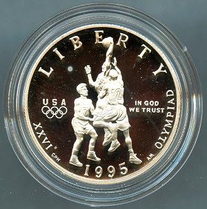 1995-S Olympic Commemorative Basketball Clad Proof Half Dollar - Slight Impaired