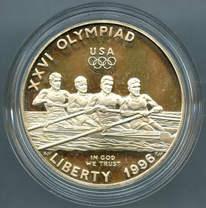 1996-P Olympic Commemorative Rowling Silver Dollar - Impaired Proof