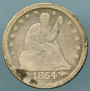 1854 Seated Quarter Good details spot obverse and scratches on reverse