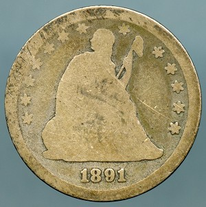 1891 Seated Quarter Poor