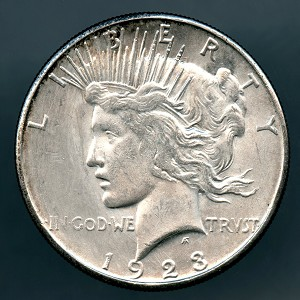 1923 S Peace Dollar MS 63 details whizzed